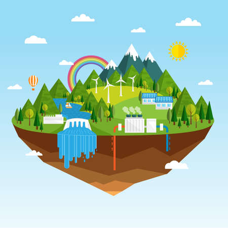 Vector illustration of ecology concept of green energy. Renewable sources of energy like hydro, solar, geothermal and wind power generation facilities. Clean green island soaring in the sky.