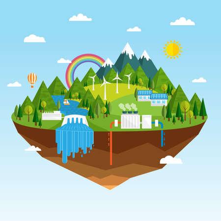 Vector illustratie van ecologisch concept van groene energie. Hernieuwbare energiebronnen, zoals waterkracht, zonne-energie, geothermische energie en windenergie installaties. Schone groene eiland in de hemel stijgen.