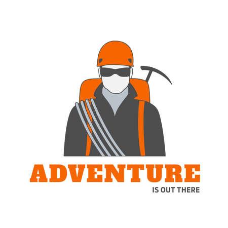 登山用装備をサングラスの男クライマーのベクトルのロゴやバッジのテンプレートです。旅行の冒険や極端なスポーツに最適です。