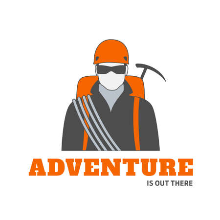 Vector logo or badge template of man climber in sun glasses with equipment for mountaineering. Perfect for extreme sport and travel adventures.