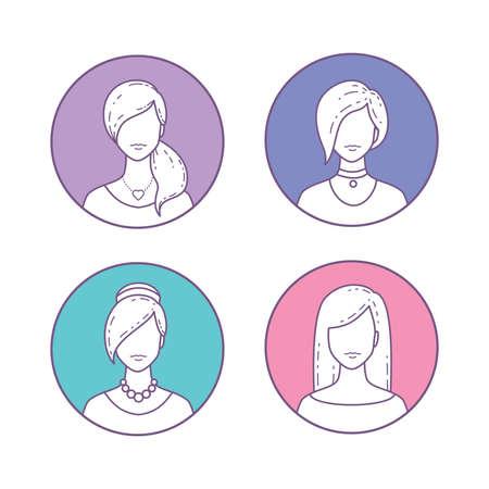 ベクトルのアイコンを設定女の子アバターのプロフィール ページやソーシャル ネットワーク。平らな回線様式。