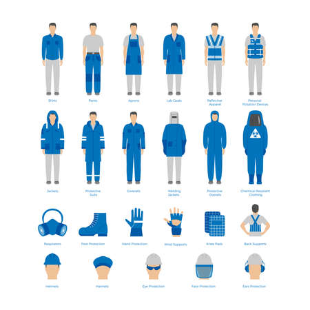 protective suit: Vector set of men in protective clothes and icons of safety equipment. Flat icons for construction and other industries. Illustration