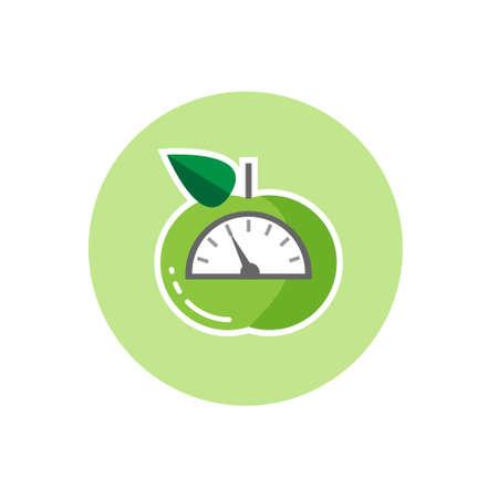 スケールとグリーンアップルのベクター アイコン。減量やダイエットの概念、フラットなデザイン