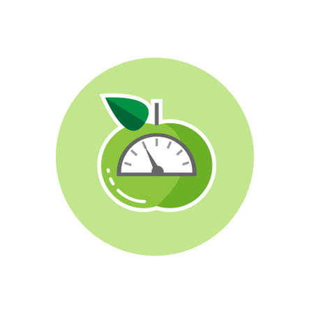 Vector icon of green apple with scales. Weight loss or diet concept , flat design Reklamní fotografie - 70952561