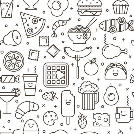 Vector seamless pattern with outlined iconic illustration Reklamní fotografie - 72626433