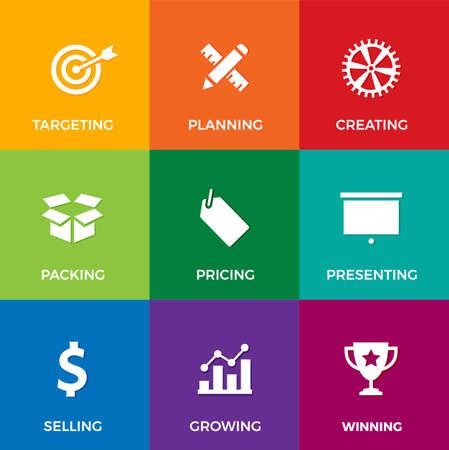 ビジネスとマーケティング テーマに白いフラット アイコンのセットをベクター: 計画、販売、提示および成長のような