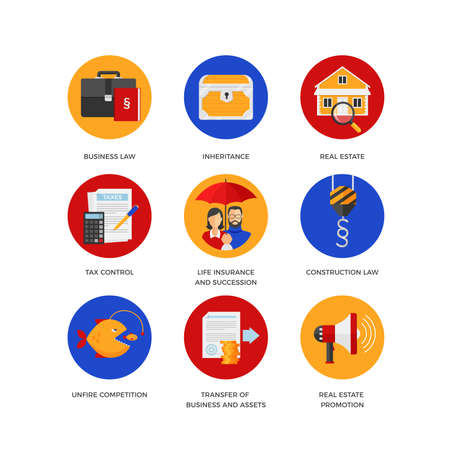 Vector icons of legal services like business and construction law, real estate, inheritance and tax control. Flat design