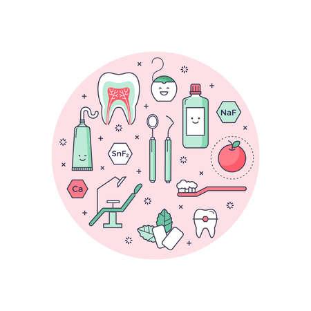 歯科機器についてのアウトラインのアイコンをベクトルの科学的背景。楽しい教育スタイル、子供のための良い。口腔病学と矯正ツール、歯の構造
