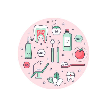Vector scientific background with outlined icons about dentist equipment. Fun educational style, good for kids. Stomatology and Orthodontics Tools, tooth structure. Illustration