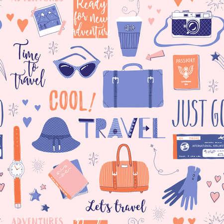 Vector naadloos patroon op het thema van reis, vakantie, avontuur. Retro 50's stijl. Handgetekende letters. Koffer, camera, kleding en andere dingen. Doodles.