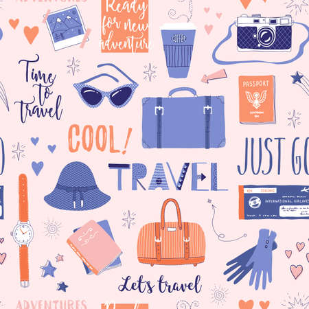 Vector seamless pattern on the theme of travel, vacation, adventure. Retro 50s style. Handdrawn lettering. Suitcase, camera, clothes and other stuff. Doodles.