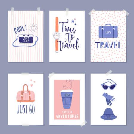 旅行イラストやレタリング テンプレートのベクトルを設定します。グリーティング カード、ポスター、ラベルまたはバナーのデザイン。レトロな 50
