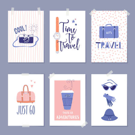 Vector set of templates with travel illustrations and lettering. For greeting card, poster, label or banner design. Retro 50's style.