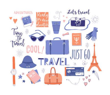 Vector set on the theme of travel , vacation, adventure. Retro 50's style. Handdrawn travel lettering. Suitcase, camera, clothes and other stuff. Doodles.