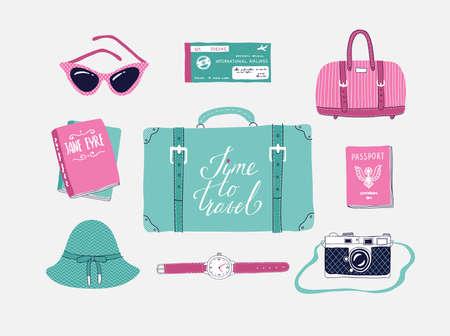 旅行、休暇、冒険についてのベクトル イラストのレトロなセット。レトロな 50 年代スタイル。手描き、レタリングを旅行します。スーツケース、バ