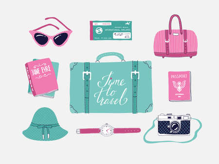 Retro set of vector illustrations about travel , vacation, adventure. Retro 50s style. Hand drawn, travel lettering. Suitcase, bag, camera, clothes and other stuff.