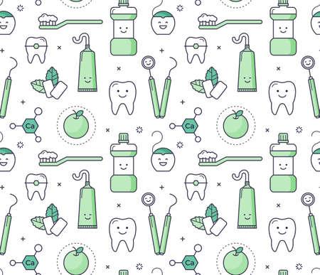 白い背景の上の歯科医装備ベクトル教育シームレス パターン。象徴的なスタイル口腔病学ツール、歯のケアを楽しい。