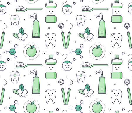 Vector educational seamless pattern with dentist equipment on white background. Fun iconic style Stomatology Tools, teeth care. Imagens - 74001741