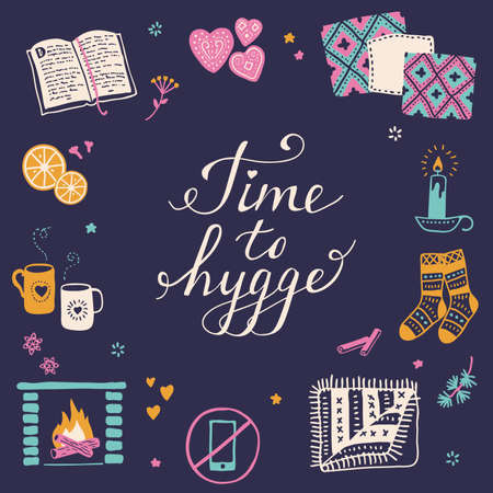 Vector illustration with Time to Hygge lettering and cozy home things like candles, socks, rug, tea, fireplace. Danish living concept. Greeting card template, hand drawn style. 矢量图像