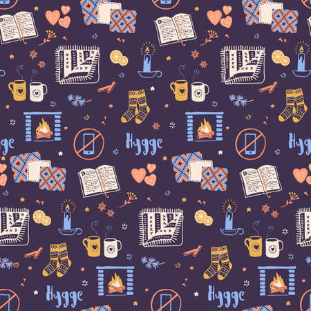 Vector seamless pattern with Hygge concept and cozy home things like candles, socks, oversize rug, tea, fireplace. Danish living concept. Greeting card template, hand drawn style. Reklamní fotografie - 74001742