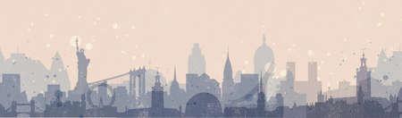 アメリカおよびヨーロッパ都市のスカイラインと水平パノラマ バナー。ビンテージ スタイルの都市の背景。