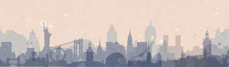 american cities: Horizontal panoramic banner with skylines of different American and European cities. Urban background in vintage style.