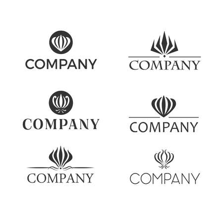 Set od black and white retro designed logos with gloriosa or flame lily flower. Reklamní fotografie - 73865166