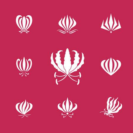 白いシルエットのグロリオサや炎のユリの花のベクトルを設定します。ロゴの要素