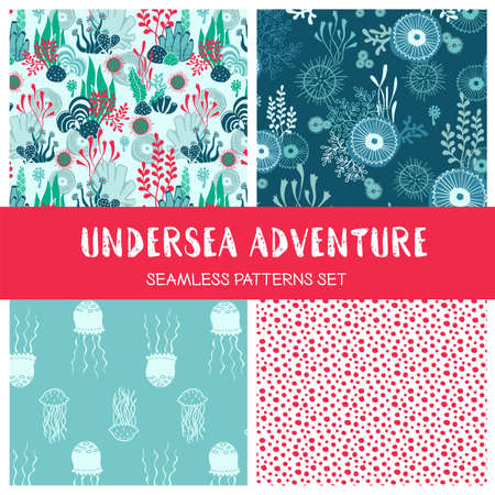 Vector set of hand drawn underwater seamless pattern with seaweeds jellyfish and other sea plants and habitants