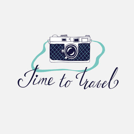 Vector template for card on the theme of travel, vacation, adventure. Retro 50's style. Handdrawn vintage camera with lettering Time to travel 矢量图像