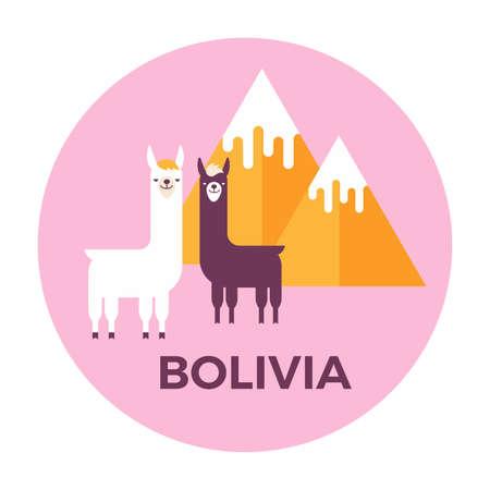 ベクトル イラスト ステッカーまたはボリビアの山とラマ僧のラベル。フラットなデザイン スタイル。