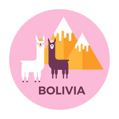 Vector illustration stickers or label of Bolivia with mountains and lamas. Flat design style.