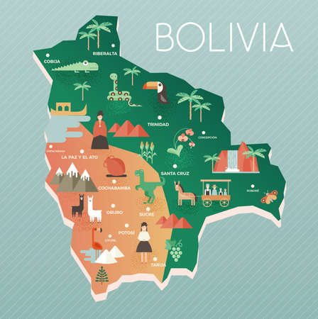 Vector illustration map of Bolivia with nature, animals and people in traditional clothes. Flat design style Иллюстрация