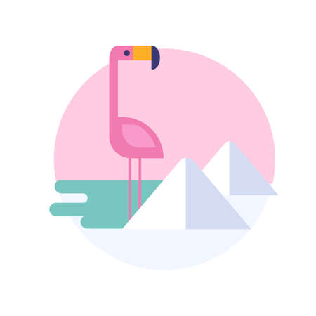 Vector illustration of flamingo for sticker or label. South America. 矢量图像