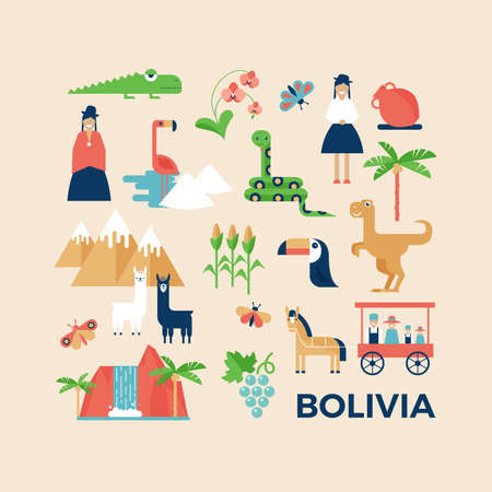 Vector illustration sightseeings of Bolivia with nature, animals and people in traditional clothes. Flat design style. Poster or greeting card