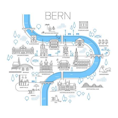 ベルン、スイスのベクトル図示地図。定型化されたランドマークや有名な場所。線画
