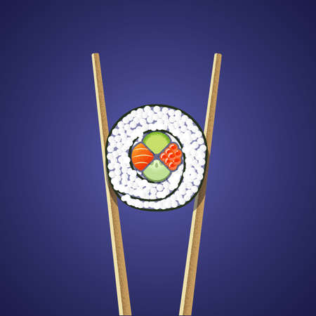 Illustration of sushi roll  between two chopsticks on the dark background. Flat and textures.