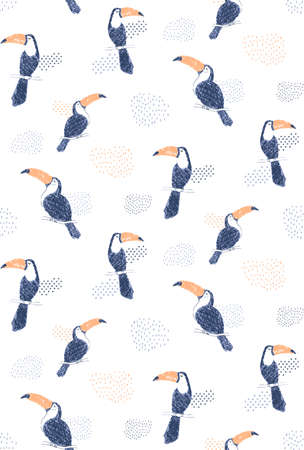 Handdrawn toucan pattern 矢量图像