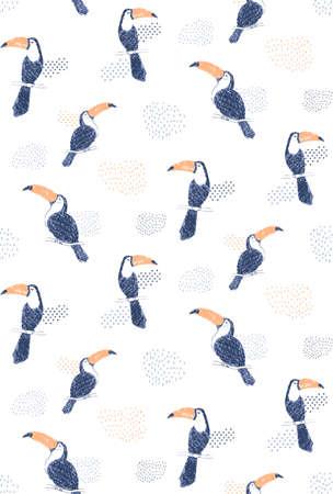 Handdrawn toucan pattern  イラスト・ベクター素材