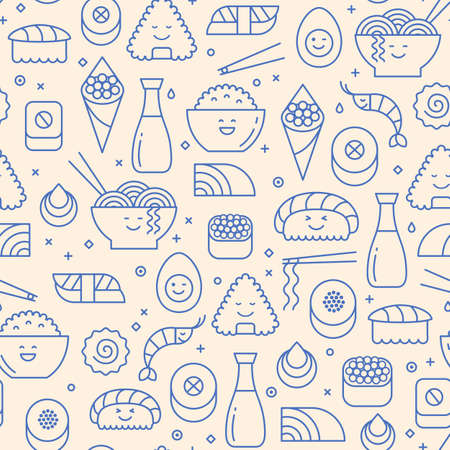 Outlined icons seamless pattern with Japanese traditional food. Sushi, rice, rolls and ramen. Blue line icons with smiling faces. 矢量图像