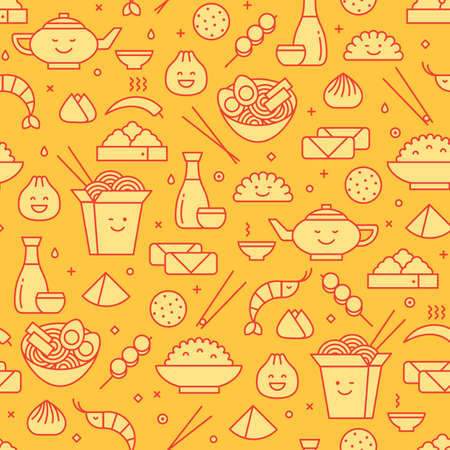 Cute seamless pattern of Chinese food. Traditional take away boxes, dim sum, ramen noodles and spring rolls. Yellow and red colors,  line art icons. 矢量图像