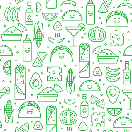 A Seamless pattern of Mexican food, line style.