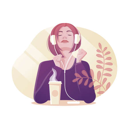 Vector illustration of young girl drinking coffee and listening music with headphones. Modern flat style.