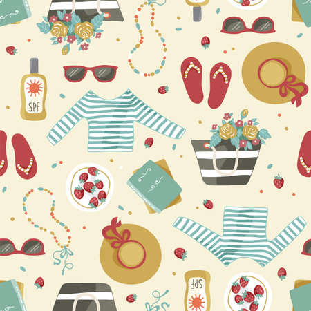 Vector seamless repeatable hand drawn pattern of summer season with clothes and accessories such as hat, beach bag, step-ins, sunglasses.