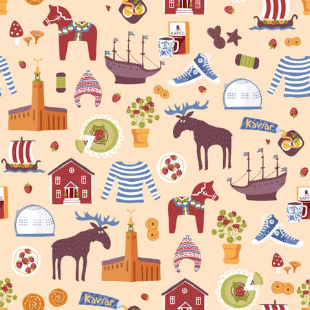 Seamless repeatable hand drawn pattern with landmarks and symbols of Sweden. Traditional Swedish food, clothes and city sightseeings.