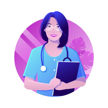 A Vector illustration of female doctor holding files in hands. Modern flat realistic style of  Medical concept.