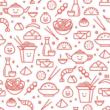 Vector line art seamless pattern of Chinese cuisine in outlined icons. Traditional food of different provinces of China take out boxes, noodles, dim sum, ramen and spring rolls.