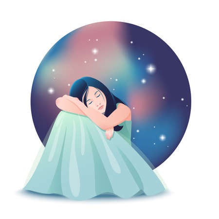 Vector illustration of cute dreaming girl with closed eyes siting in front of the background of night sky with stars.