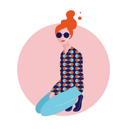 Vector illustration of stylish beautiful young woman sitting on the knees.  60s pattern, jeans and sunglasses. Retro style in modern interpretation. Pop art