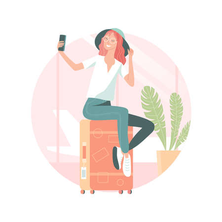 Young woman taking selfie at the airport Vector illustration.